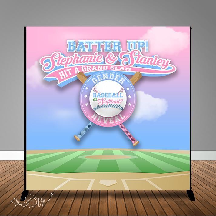 Baseball Or Softball Gender Reveal 8x8 Backdrop Step Repeat Design Print And Ship Backdrops Gender Reveal Banner