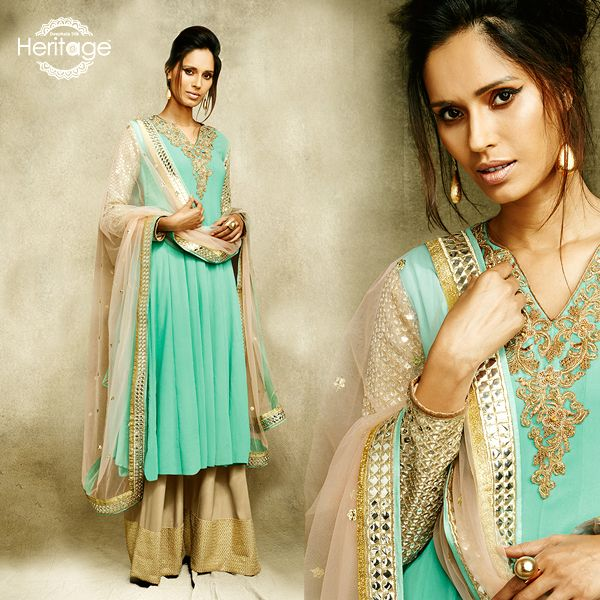 Sky Blue Georgette Embroidered Salwar Kameez