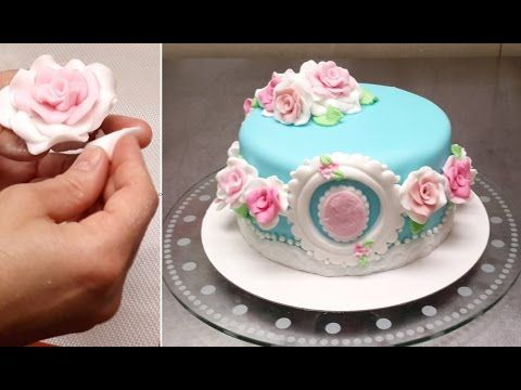 FONDANT ROSES CAKE - Birthday Cake Ideas. Tutorial by Cakes StepbyStep