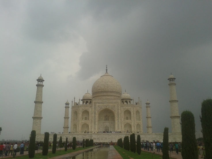 And it is raining at The Taj Mahal, India.