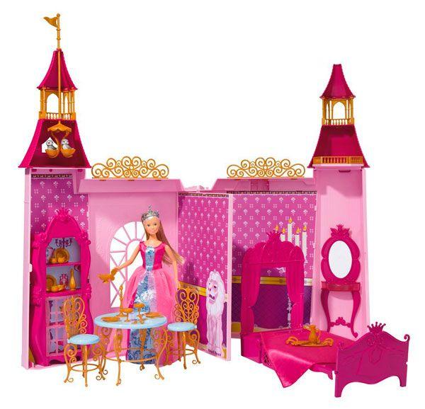 Simba Кукольный домик Штеффи и ее замок  Кукольный домик Simba Штеффи и ее замок - то очень красочный, детально проработанный набор, в который входит не только сама кукла, но и ее замок, а также множество аксессуаров дл игры. Замок создан в розовом, малиновом, лиловом цвете с вкрапленими золотого.   Особенности: В наборе есть резные стульчики и стол, королевска кровать, шкафчик, туалетный столик, посудка В высоких башнх можно рассмотреть гнездо птичек, балкончики Сама кукла Штеффи, входща в…