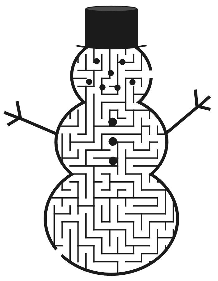 Christmas Mazes Holiday Coloring Pages Snowman Christmas