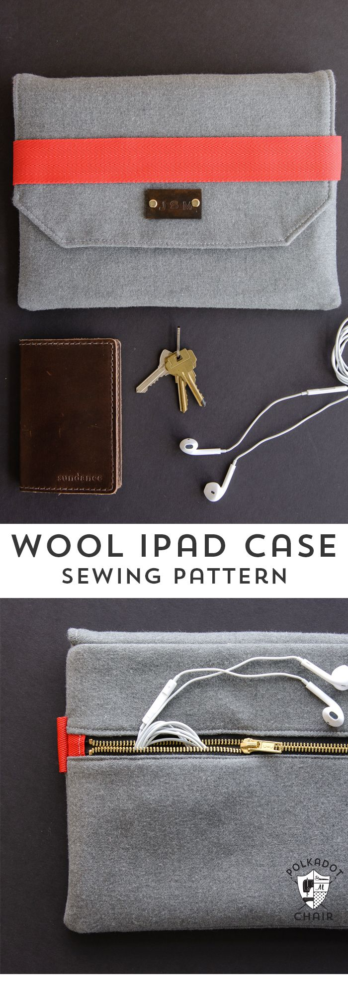 DIY Wool iPad Case Sewing pattern and tutorial, a great pattern for an iPad case for guys, would be a fun father's day gift.