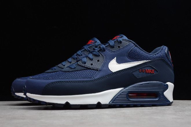 Mens Nike Air Max 90 Essential Midnight Navy University Red