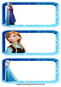 Etiquetas escolares de frozen para imprimir