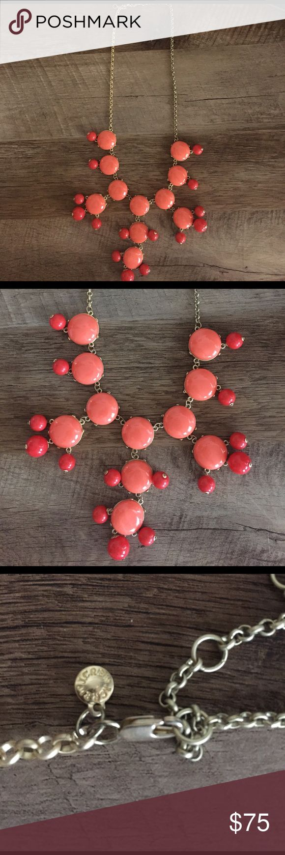 J.Crew Bubble Necklace Only worn once. Coral and red bubble necklace. Adjustable necklace. No damage or scratches anywhere. Perfect condition! J. Crew Jewelry Necklaces