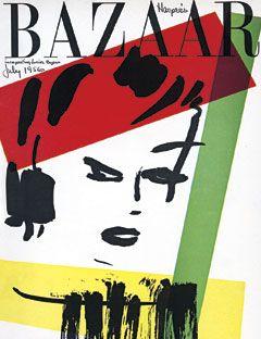 1956: The July cover makes a colorful nod to modernism.    #vintage #harpersbazaar #vintagecover  #fashion #magazine #illustration
