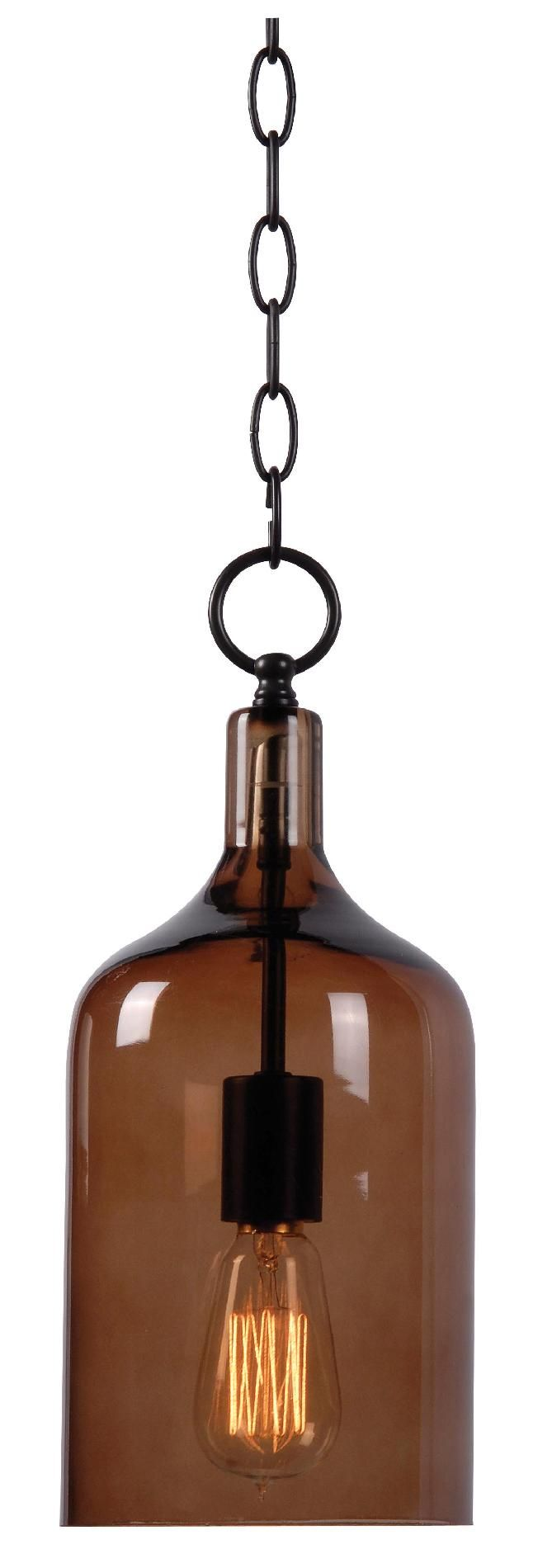 antique bulb pendant light with a wine bottle covering