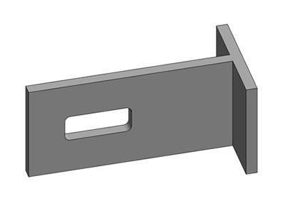A T type palisade fishplates with one slot at the long side.