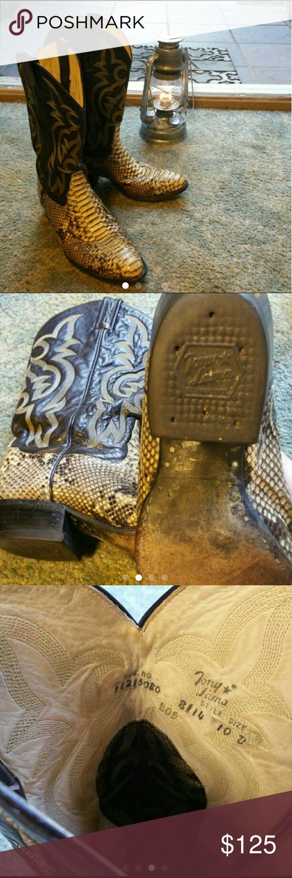 Tony Lama Leather & Python Cowboy Boots Men's size 10 leather cowboy boots with real snakeskin detail in great condition. No scuffs Tony Lama Shoes Boots