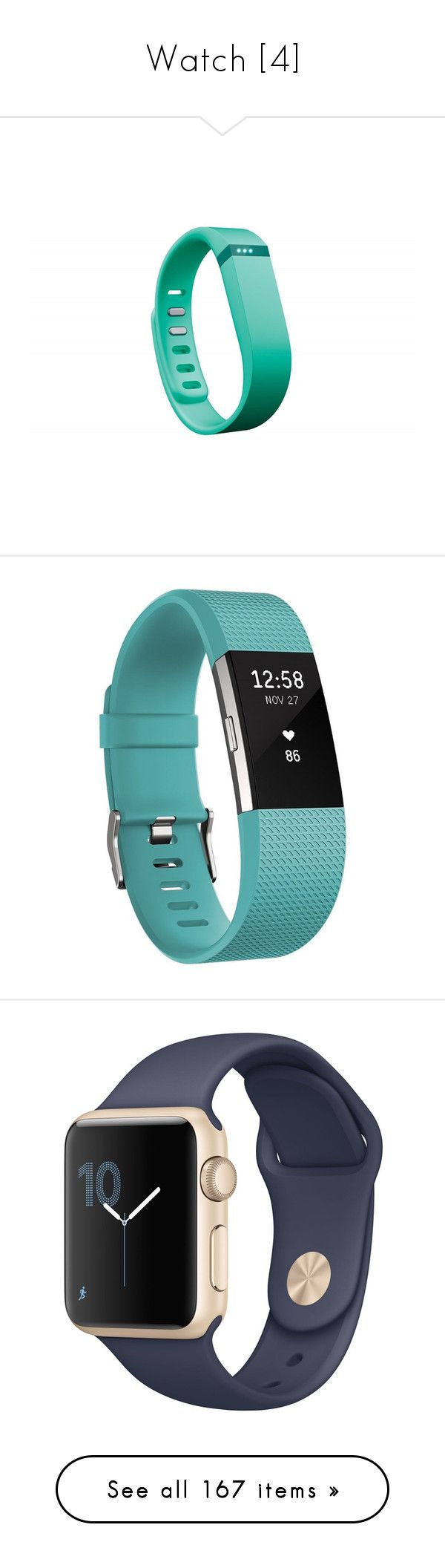 """""""Watch [4]"""" by gdavilla ❤ liked on Polyvore featuring accessories, bracelets, fitness, jewelry, watches, teal, fitbit watches, alarm wrist watch, fitbit jewelry and heart jewelry"""