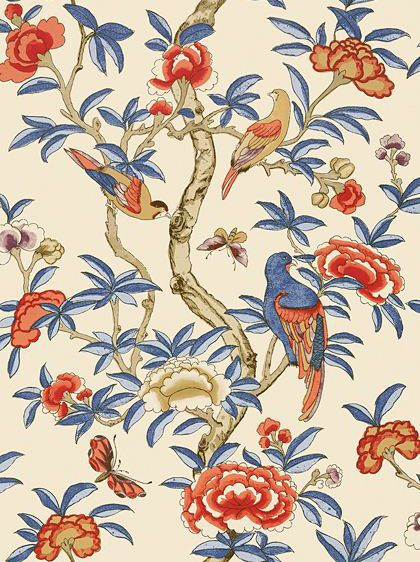 Giselle Blue and Coral wallpaper by Thibaut
