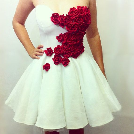 THE ROSE DRESS handmade white prom dress petticoat skirt red roses event gown wedding bridesmade dress red roses