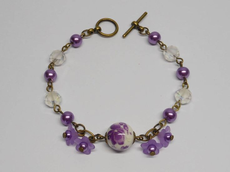 Purple / White Charm bracelet,Bronze Bracelet, Charm Bracelet. by akcrystalbead on Etsy
