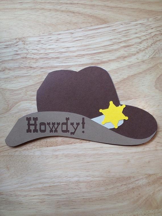 Cowboy Invitation - Hat card - Western Theme, Wild Wild West Birthday Party