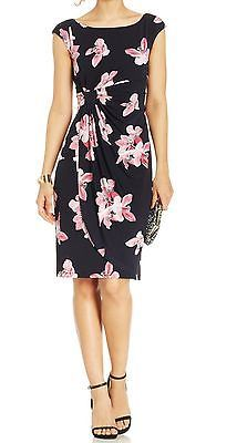 Connected Apparel New Pink Navy Blue Floral Print Women's 8 Faux-wrap Dress  $69