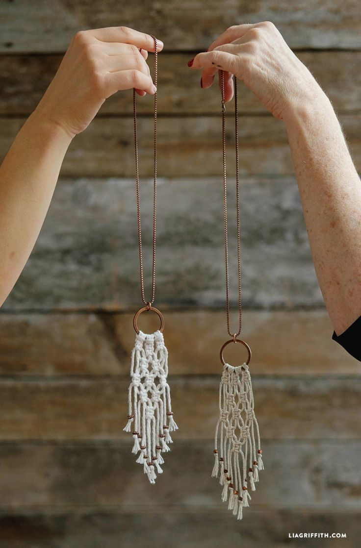 Simple DIY Macrame Necklace                                                                                                                                                      More                                                                                                                                                     More