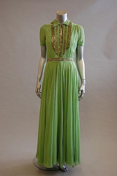 A Paquin couture apple-green chiffon evening gown, Winter, 1939
