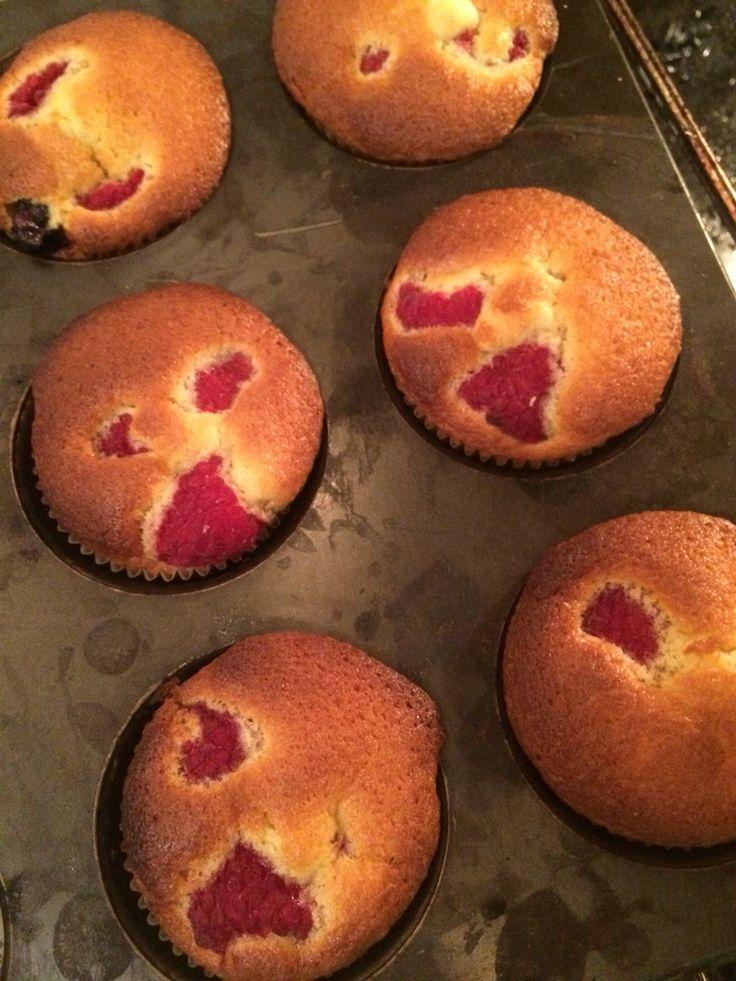 Cupcakes med bringebær.