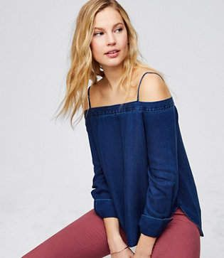 LOFT Petite Strappy Chambray Off The Shoulder Top