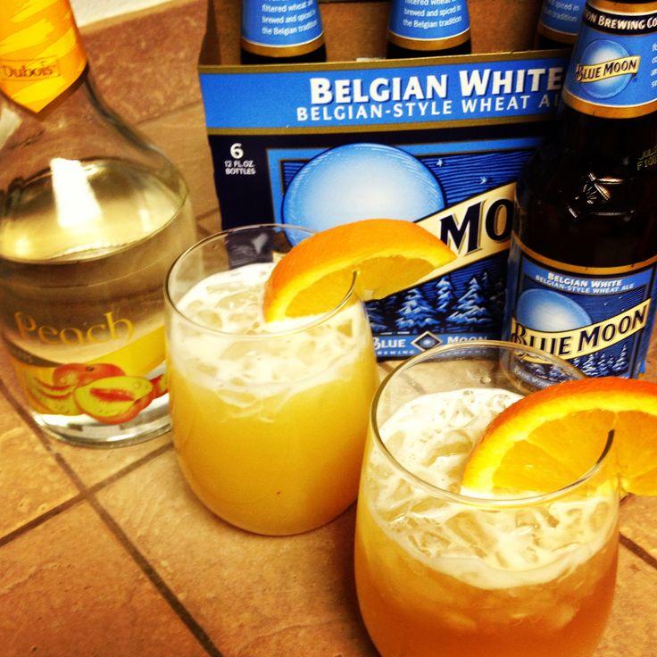 Peach Moon ~ Blue Moon, shot of Peach Schnapps, and splash of Orange Juice. SuMmEr!