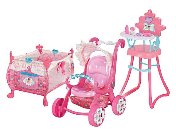 Disney Princess 3-in-1 Playset and Accessories It's a set fit for royalty. This all-in-one collection of baby essentials starts with a sweet stroller featuring a ruffled canopy, large storage basket and a toy bar to keep baby princess entertained during long walks around the kingdom. Next is a pretty playard with storage pocket, ruffled trim and shimmering satin bows. Mealtime calls for a special throne - a happy high chair with removable tray.