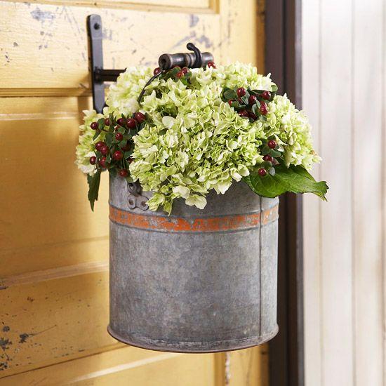 Decorative Bucket on Door #bhg