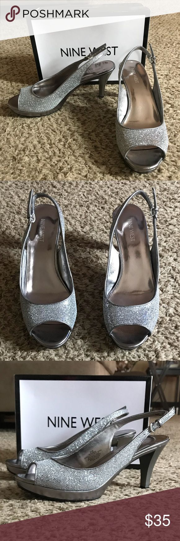 Nine West Karoo Silver Peep Toe Slingback Nine West Karoo Silver Peep Toe Slingback Size 8 1/2. 3 1/2 inch heel. Only worn one other time for a wedding! In near perfect condition. Very comfortable. Nine West Shoes Heels