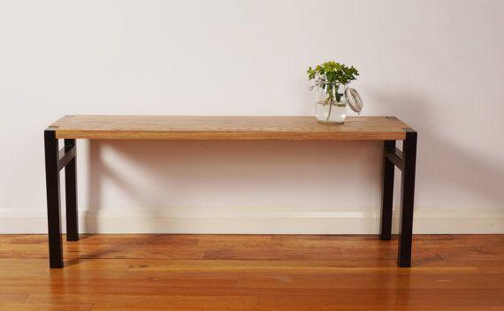 Oak Bench with Steel Legs on Etsy, £195.00