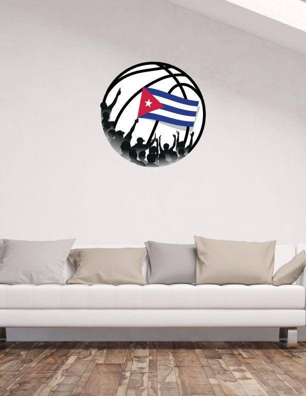 Cuba Flag Basketball Fans Inside Ball NBA Sport Wall Decor Sticker 22 x 22