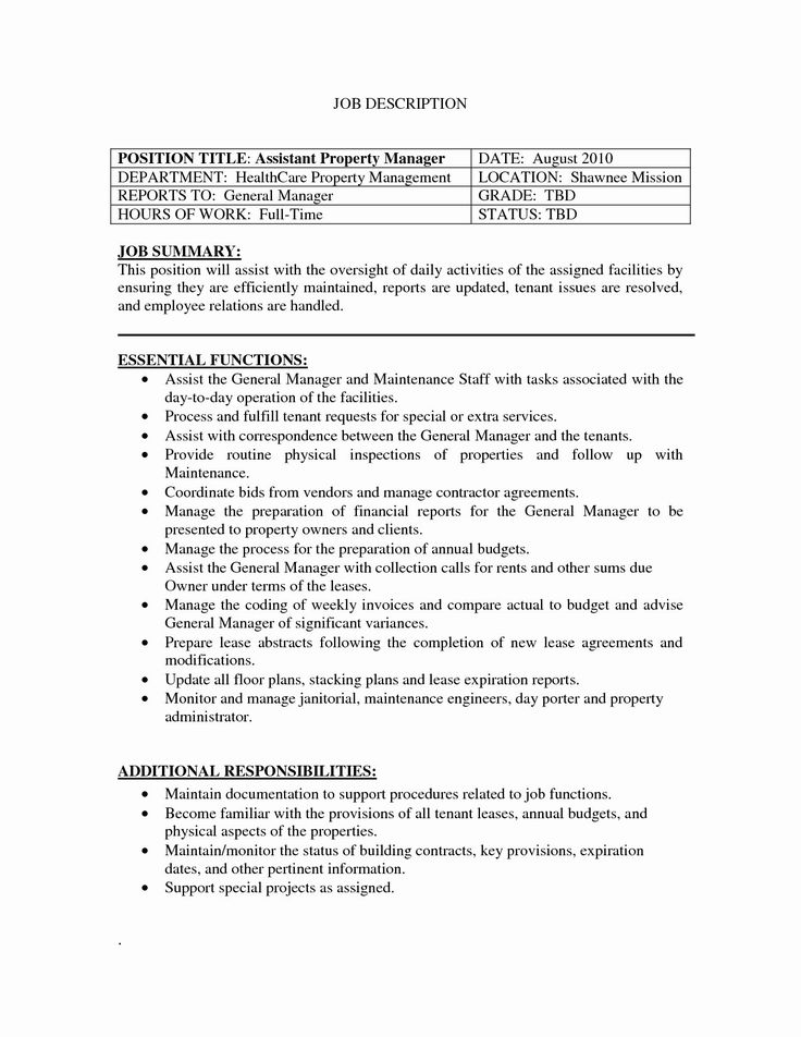 Assistant Property Manager Resume Awesome 7 9