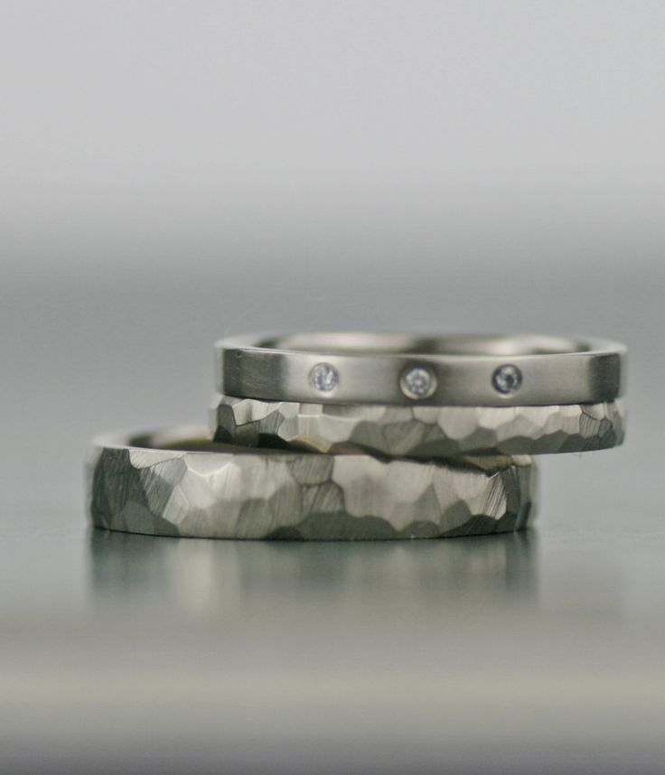 Engagement ring / wedding band set -  white gold, modern,handmade, three diamond - unique his and hers hers his his, recycled, conflict free