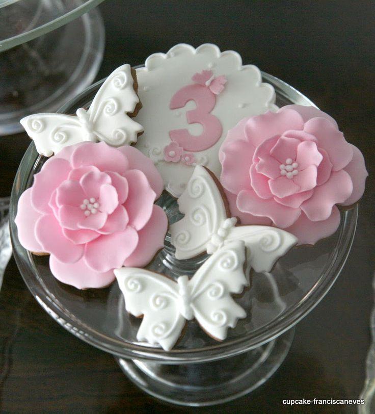 sugar  butterflies and flowers cookies
