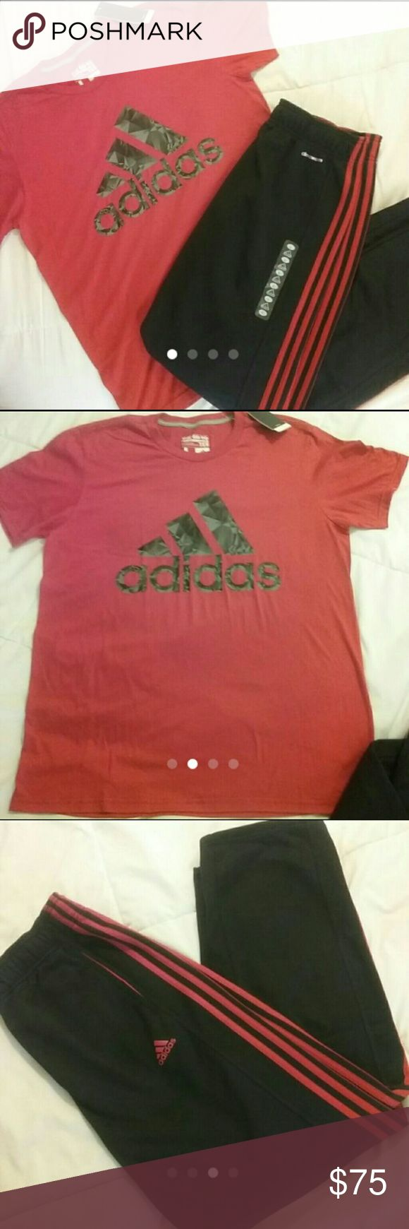Adidas workout shirt and pant bundle sz large Price is Firm Lots of other Adidas and Nike wear in my closet men's and women's new and used Brand new in store and brand new with tags!! Bright red Adidas shirt with grey and black logo Size large Black Adidas climawarm house or workout pant  Size large also Black with red stripes down the sides Adidas Pants Sweatpants & Joggers