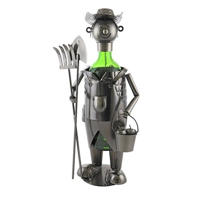 Wine bottle holder by Wine Bodies, Farmer with pitch fork