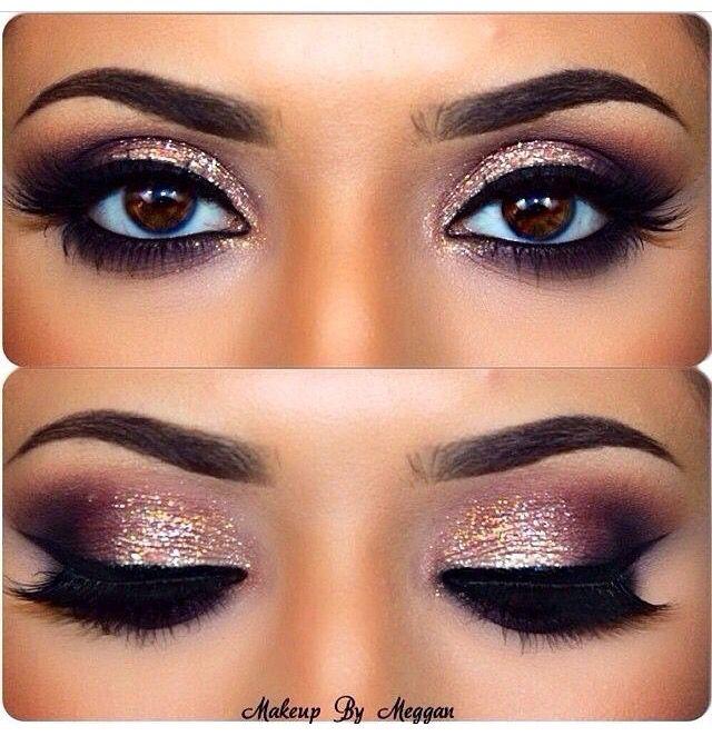 Sparkly pink eye makeup