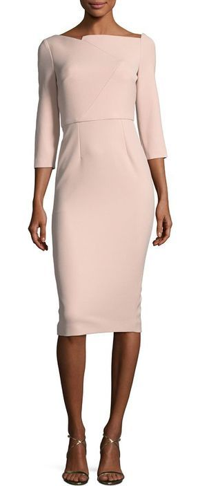 Boat-Neck 3/4-Sleeve Sheath Dress by Roland Mouret. Roland Mouret dress with zigzag seaming. Asymmetric, boat neckline. Three-quarter sleeves. Sheath silhouette. Golden back zip. Knee-length hem. Polyester/viscose/spandex. Lining, acetate/polyester. Imported. #rolandmouret #dresses