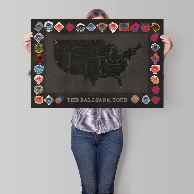 """Planing to visit all the baseball parks in the majors? Track your progress with this24"""" x 36"""" print! - Developed by City Prints Map Art."""
