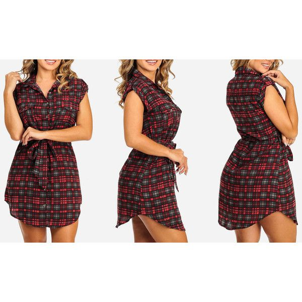 Women's ModaXpressOnline.com Plaid Sleeveless Shirt Dresses with Belt ($20) ❤ liked on Polyvore featuring dresses, red, red tartan dress, tie belt, belted dresses, dresses with belts and no sleeve dress