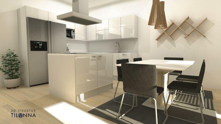 3D- visualisointi ja sisustussuunnittelu uudiskohteeseen/ Modernin rivitalon keittiö, valkovahattu tammiparketti, valkoiset korkeakiiltoiset kiintokalusteiden ovet, ruokailutilassa secto-valaisimet/ Keski-Suomen Rakennuskeskus, rivitalo Hollitaipaleentie 10, ennakkomarkkinointi/ 3D-sisustus Tilanna