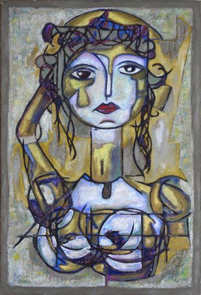 """Koz Palma, Mista de afresco e óleo sobre tela, 117x80cm,""""Minoica"""", 2014, sem moldura"""