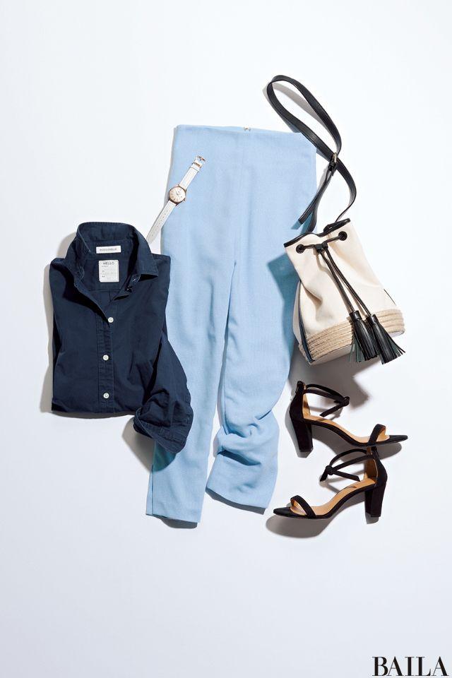 きちんと見えするネイビーのコットンシャツは、通勤にもってこい。パステルブルーのサブリナパンツと合わせると、さらにすっきり大人の通勤スタイルが叶います。女っぽさを上げたいなら、足もとは華奢ストラップのサンダルで仕上げて。バッグは今年らしいタッセルつき巾着バッグにすると、こなれ感の演・・・