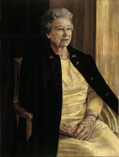 "This careworn, elderly-looking Queen Elizabeth was painted in 1996 by Antony Williams as part of a commission from the Royal Society of Portrait Painters. When critics complained he had given her ""sausage fingers,"" Williams told the AP ""that's how they were, I think. That's what I saw basically."""