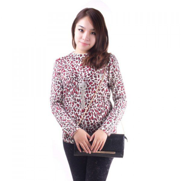 Fashionable Leopard Print Long Sleeve Knitted Sweater For Women #>=#>=#>=#>=#> Click on the pin to check out discount price, color, size, shipping, etc. Save and like it!