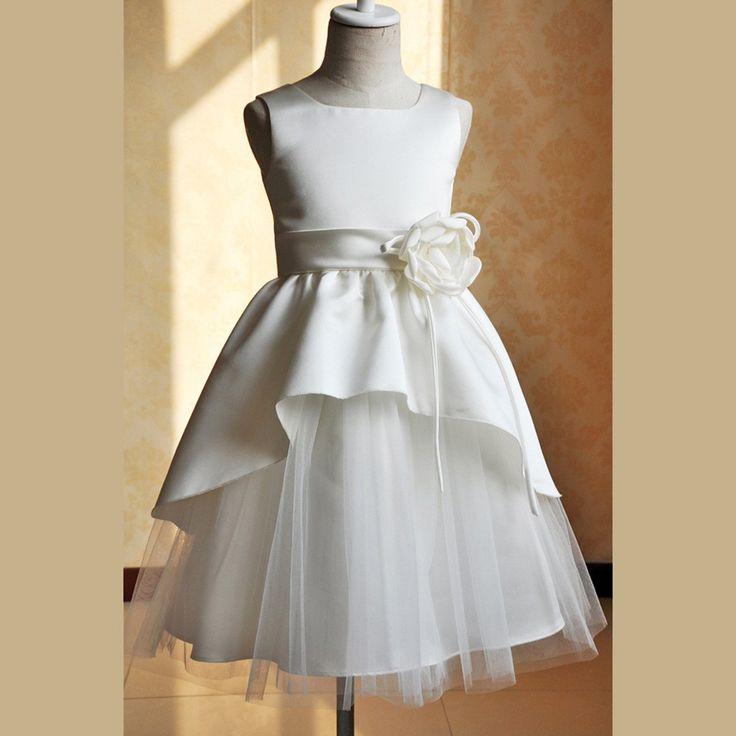 Simple-dress 2015 Square Neck Sleeveless Knee-length Tulle Flower Girl Dress With Handmade Flower TUFGD-81231