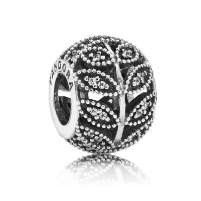 Pandora Silver Cubic Zirconia Open Work Leaves Bead 791380CZ. A beautiful open work bead adorned with cubic zirconia from the Pandora Autumn 2014 Collection. Based on gorgeous natural shapes this bead will match especially well with a floral or cubic zirconia based Pandora bracelet theme.