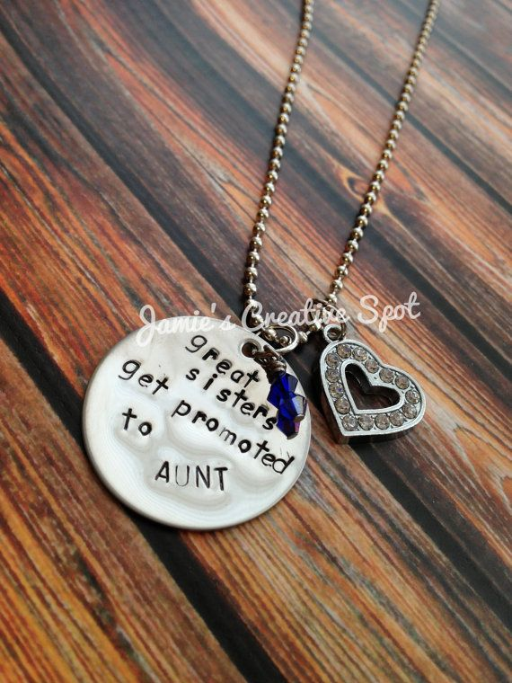 Great Sisters Get Promoted to Aunt Hand Stamped Necklace- Handstamped Necklace- Hand Stamped Jewelry- New Aunt- Aunt Jewelry- GIft via Etsy