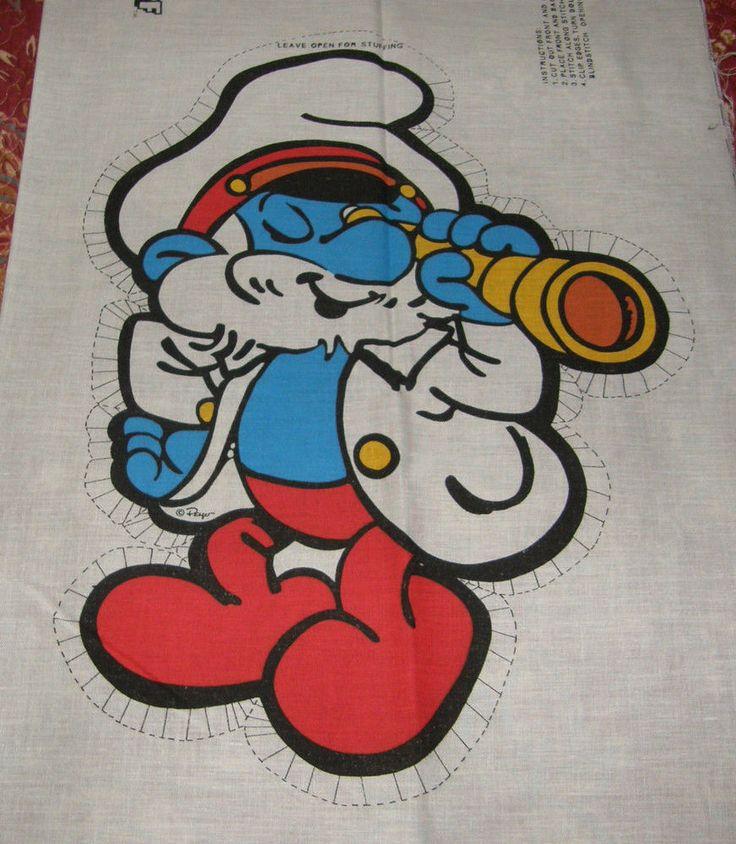 Vtg 1982 Peyo SMURFS Sewing Pillow Pattern Papa Smurf Sea Captain Wallace Berrie #Peyo
