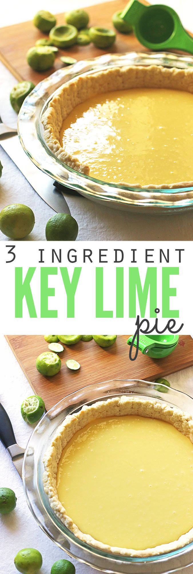 So simple, easy and delicious... 3 ingredient key lime pie recipe made using fresh key limes! If you're looking looking for the perfect summer recipe with a tang, you've found it! :: DontWastetheCrumbs.com