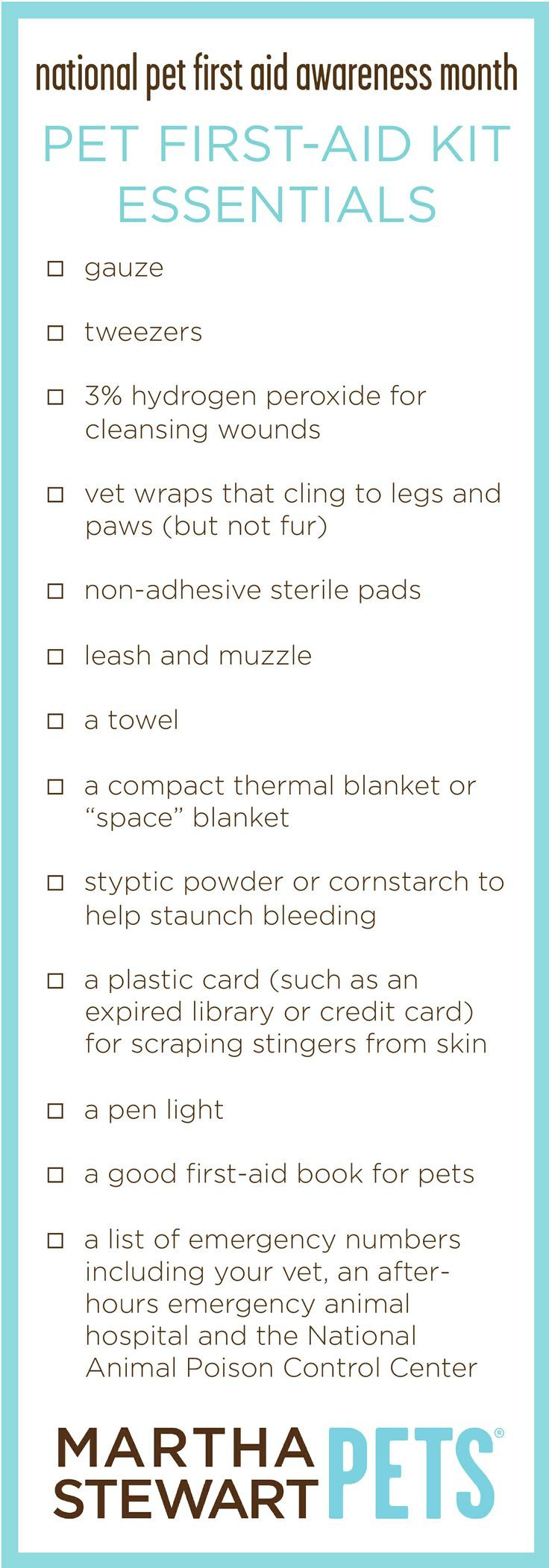 Did you know April is National Pet First Aid Awareness Month? Make sure you are prepared for any pet emergency with this printable checklist.